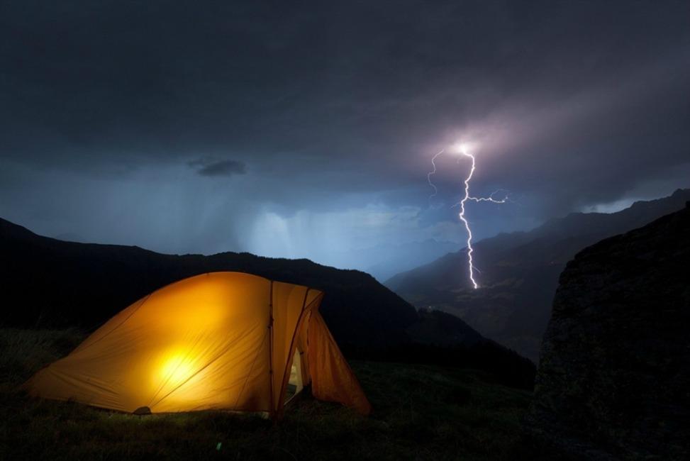 lightning in Grisons, Switzerland