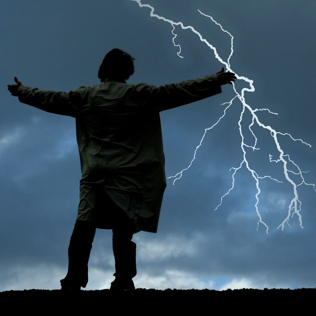 Man watching thunders on a stormy night
