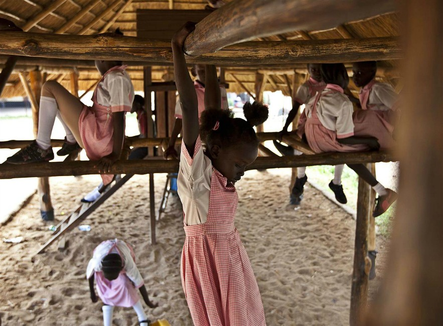 Pupils are pictured at play time in the Ephatha Primary School in Juba